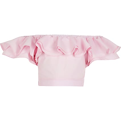 Girls pink ruched frill crop top