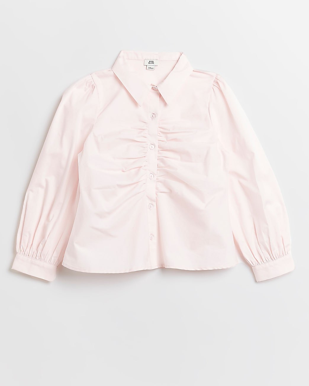 Girls pink ruched front long sleeve shirt