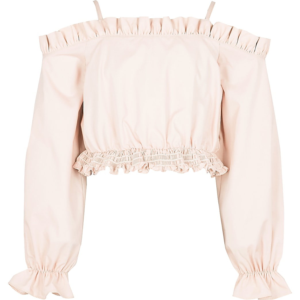Girls pink ruched waist bardot top