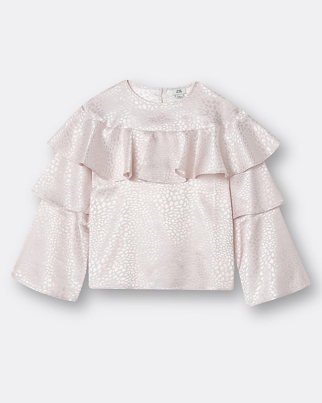 Girls pink ruffle blouse top