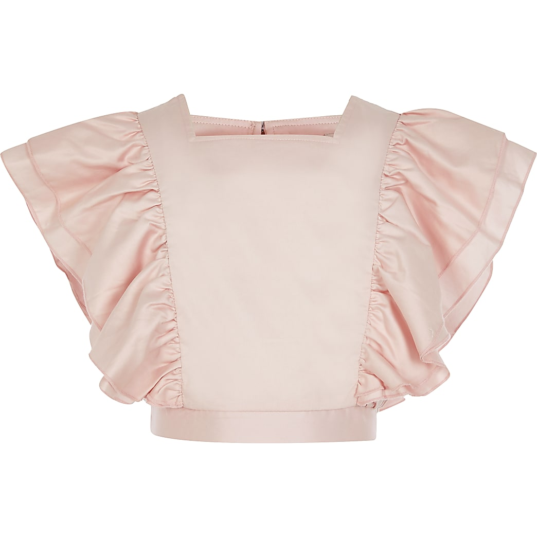 Girls pink ruffle front cropped top
