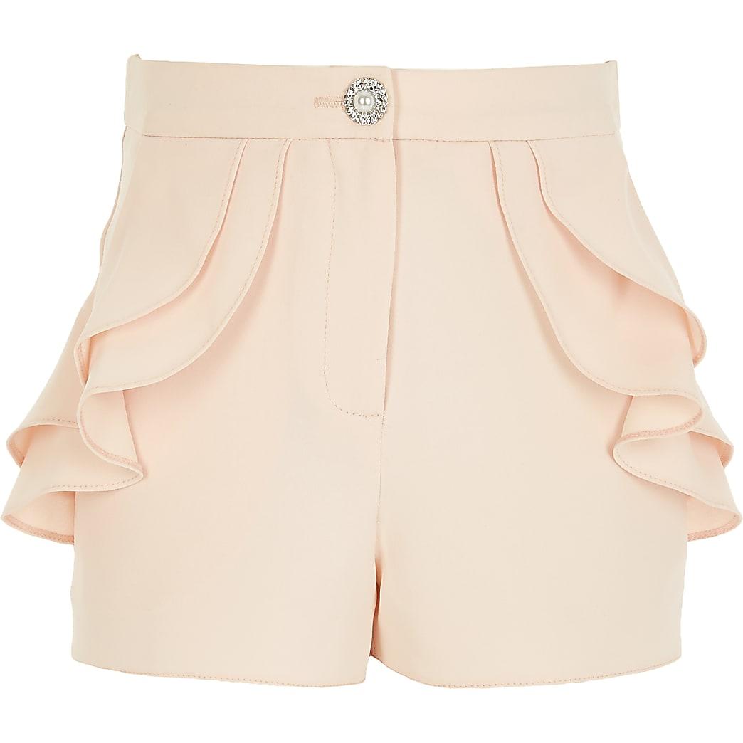 Girls pink ruffle pocket shorts
