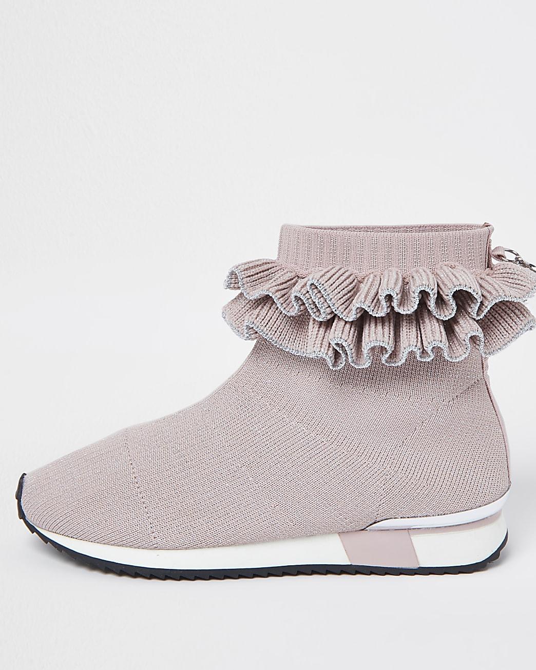 Girls pink ruffle sock high top trainers