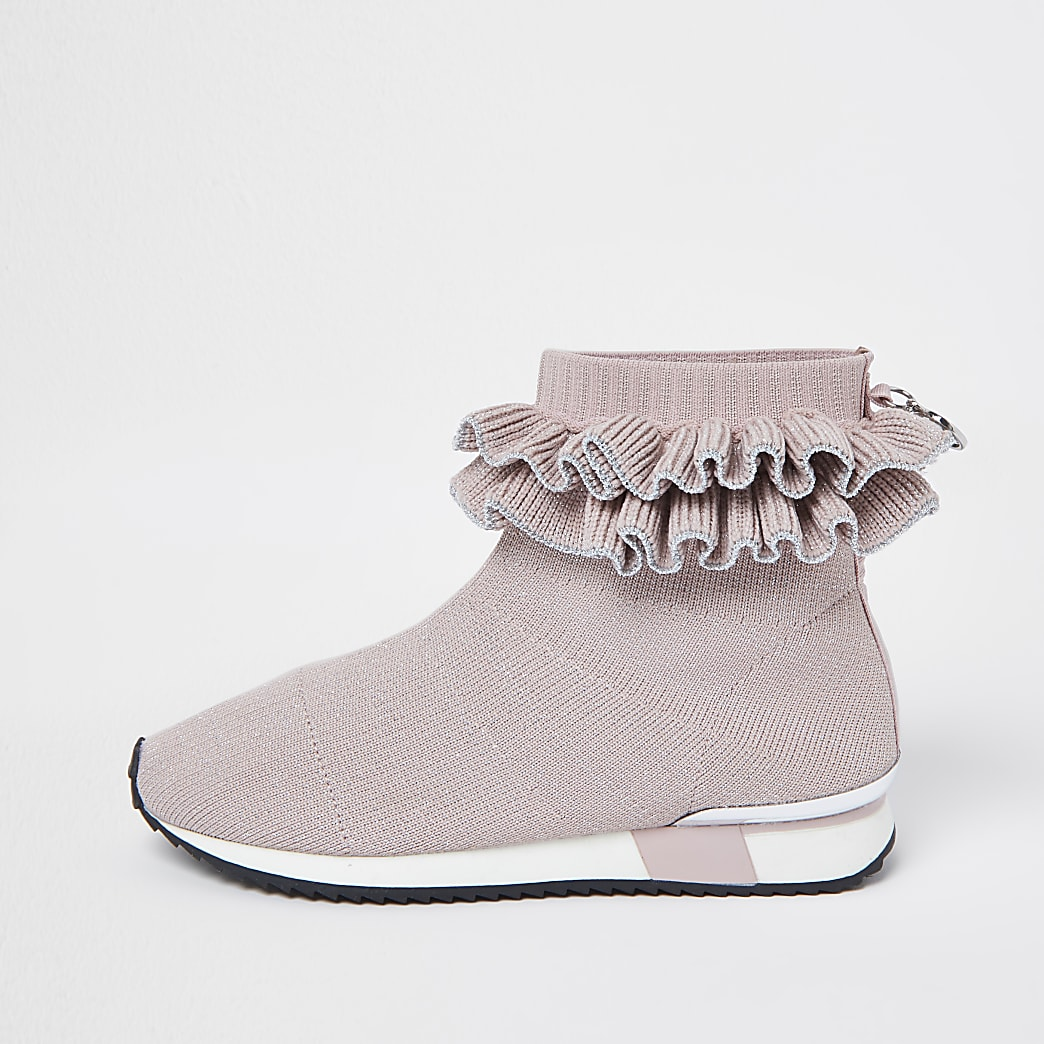 Girls pink ruffle sock high top trainers