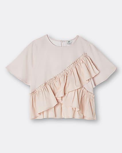 Girls pink ruffle t-shirt
