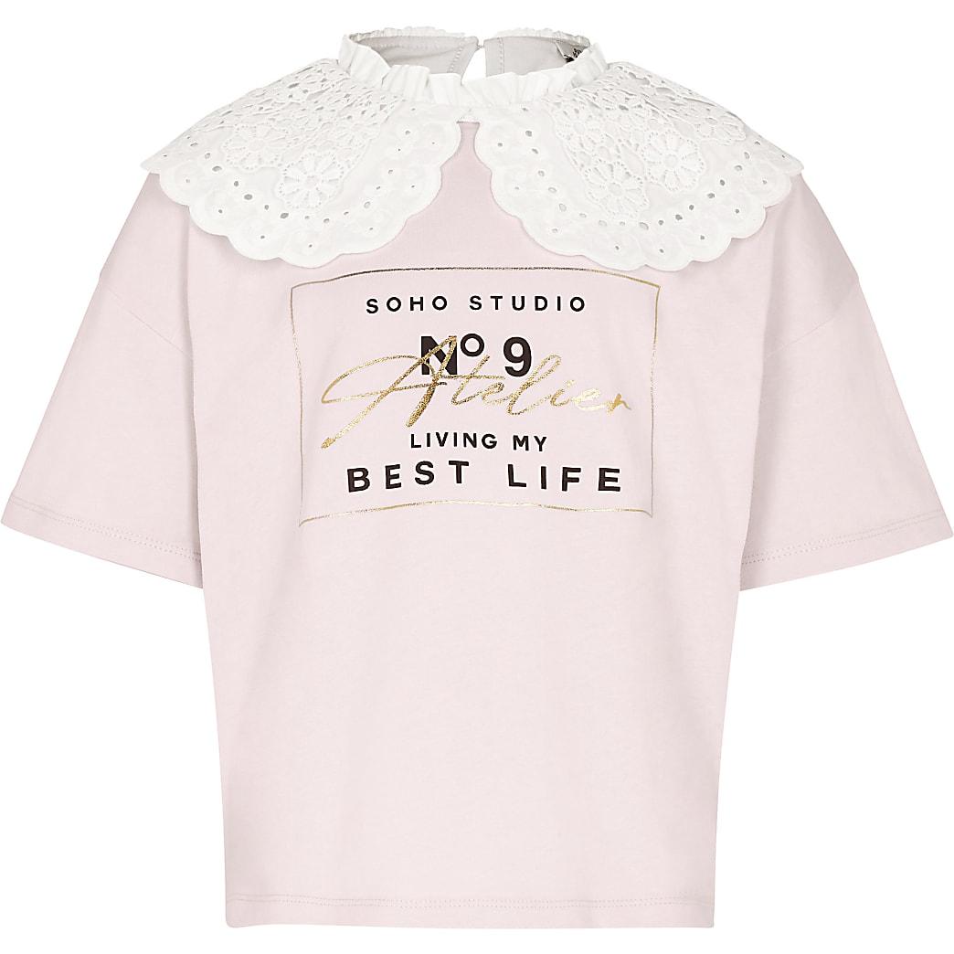 Girls pink ruffled collar t-shirt