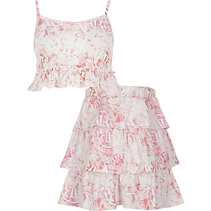 Girls pink RVR cami and skirt outfit
