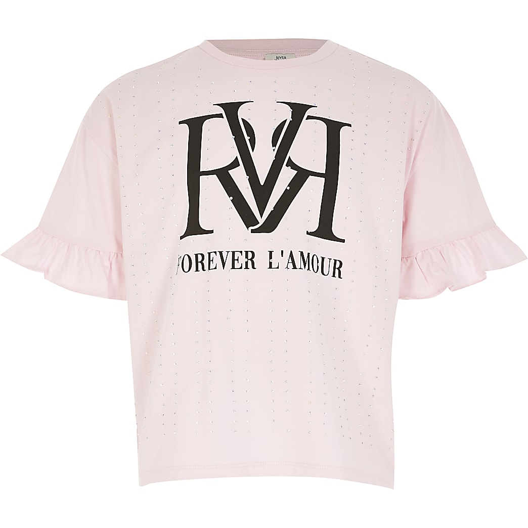Girls pink RVR diamante frill T-shirt