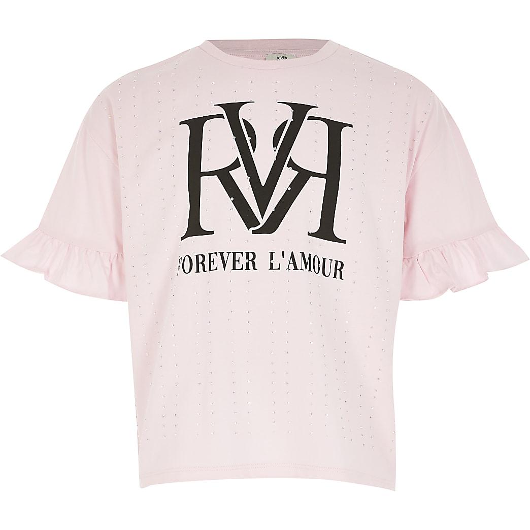 Roze T-shirt met RVR-print met siersteentjes en ruches voor meisjes