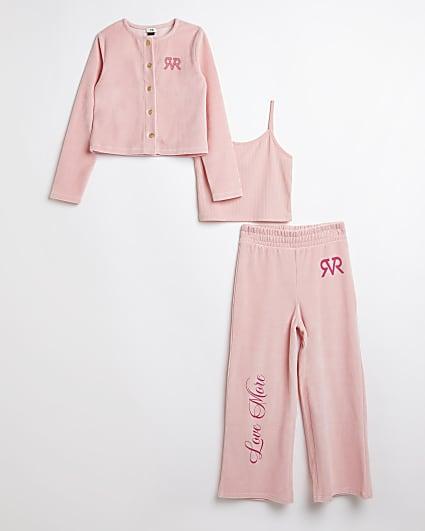 Girls pink RVR velour cardigan 3 piece outfit