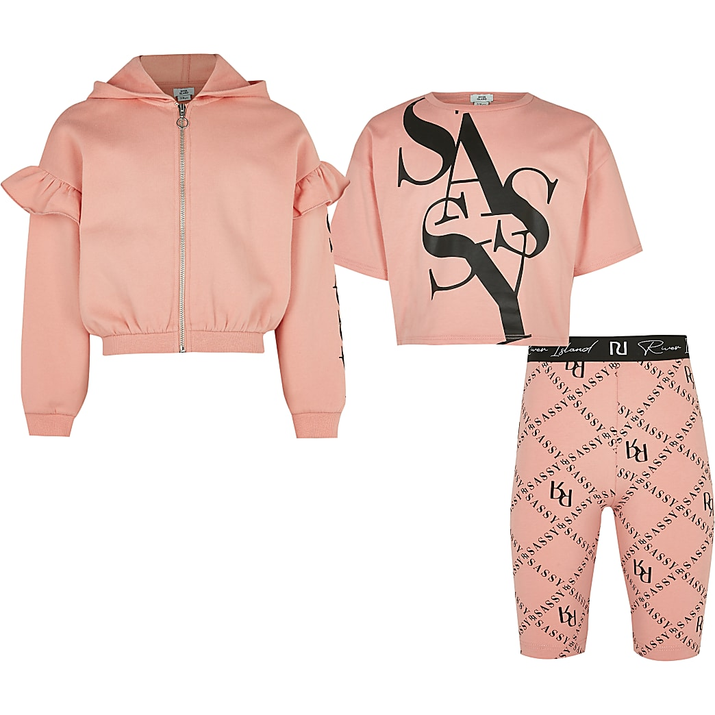 Girls pink 'Sassy' 3 piece outfit