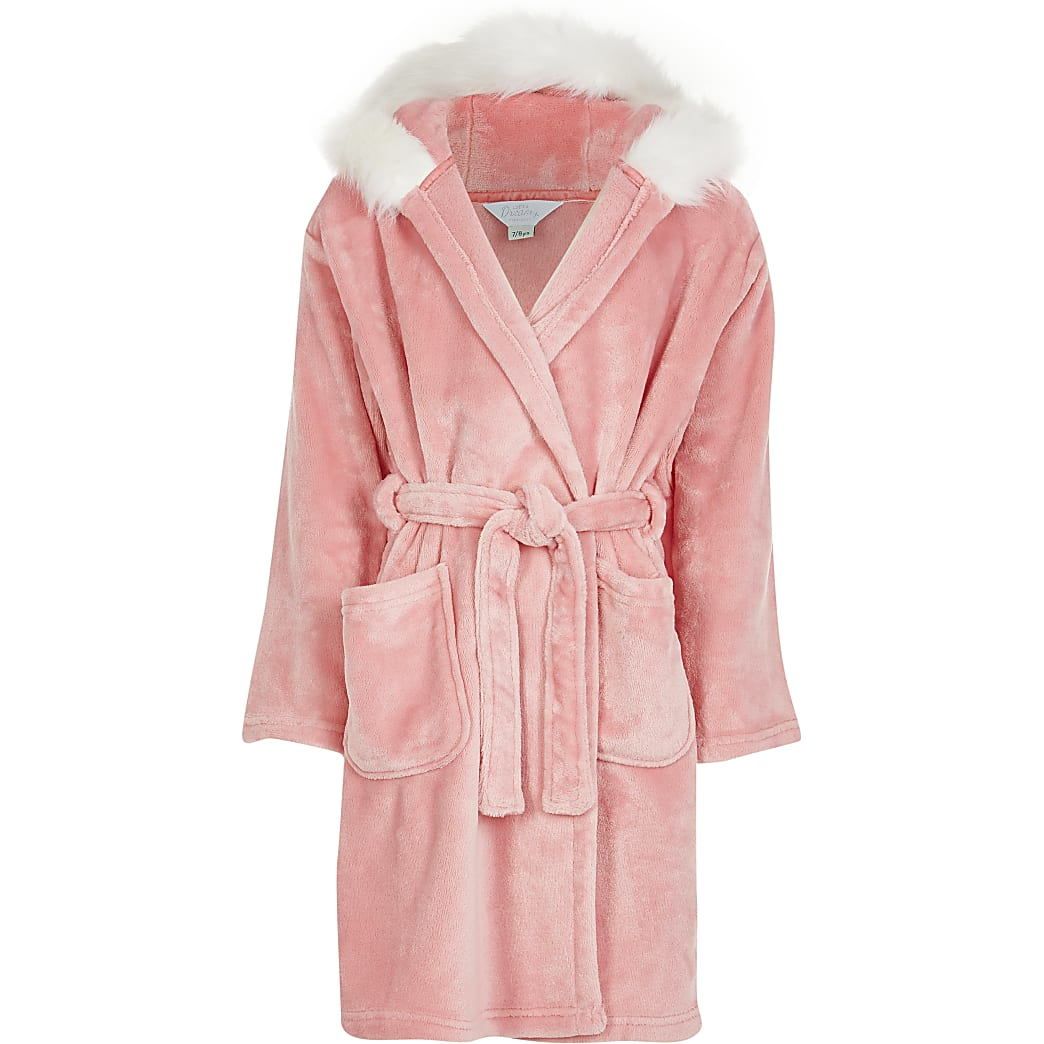 Girls pink 'Sassy' cosy dressing gown