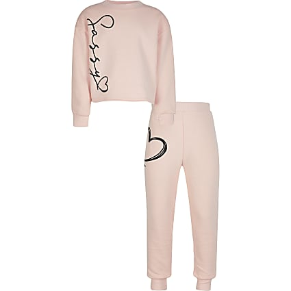 Girls pink 'sassy' sweatshirt outfit
