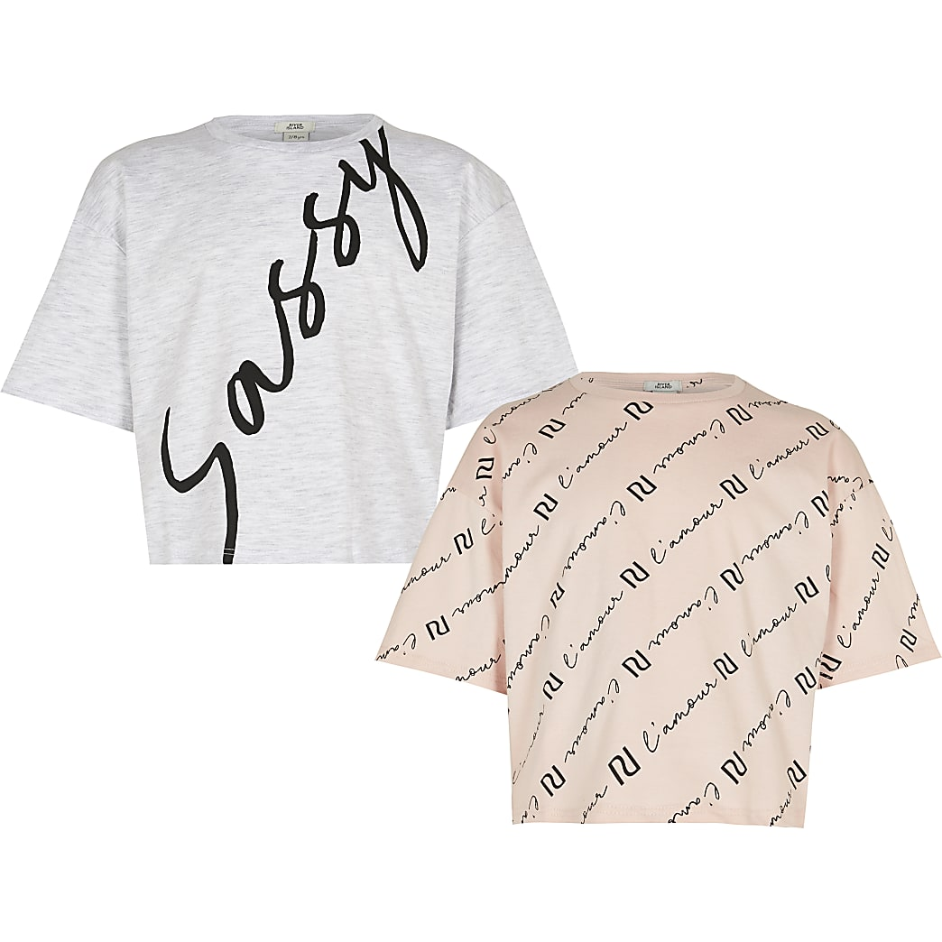 Girls pink 'Sassy' t-shirt 2 pack