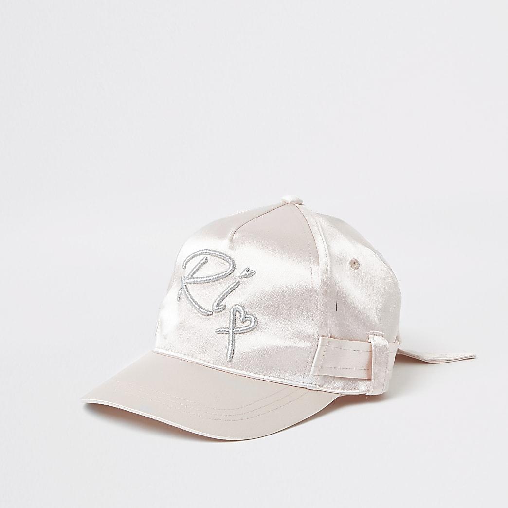 Girls pink satin belted cap