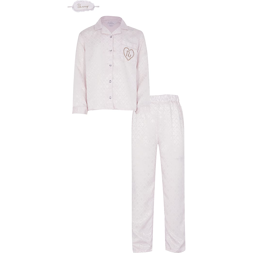 Girls pink satin pyjama and eye mask set
