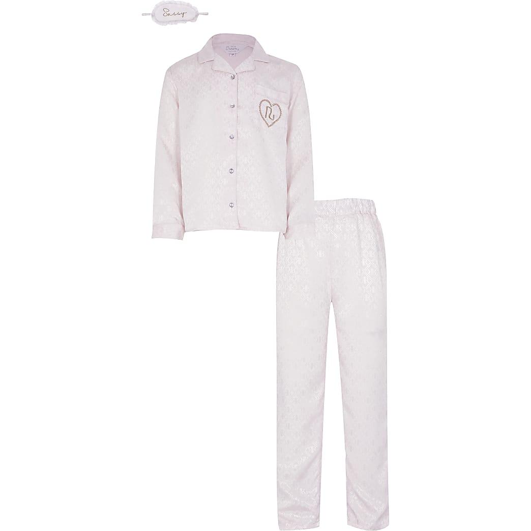 Girls pink satin pyjama and eye mask set