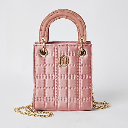 Girls pink satin quilted boxy tote bag
