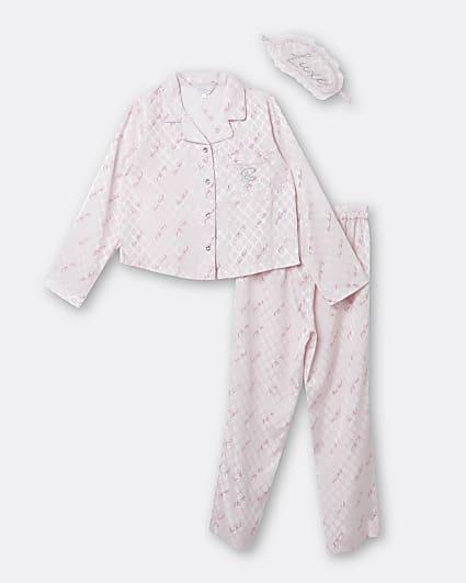 Girls pink satin RI pyjama 3 piece set