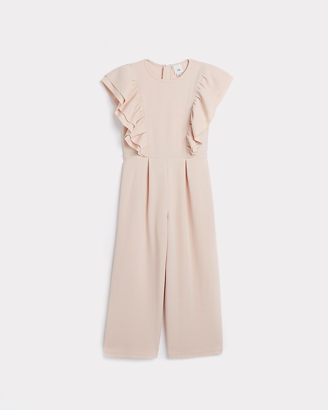 Girls pink scuba frill jumpsuit