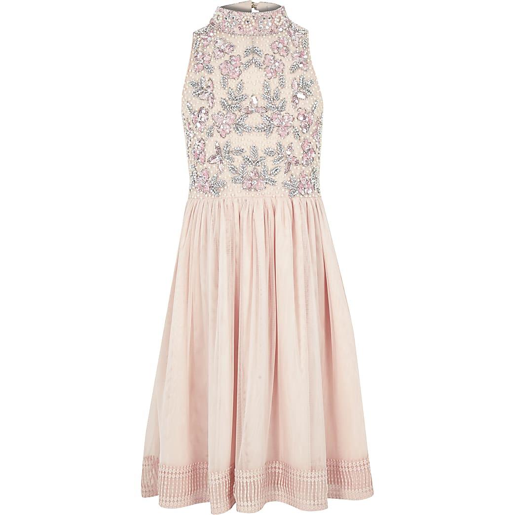 Girls pink sequin embellished prom dress