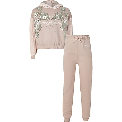 Girls pink sequin hoodie tracksuit