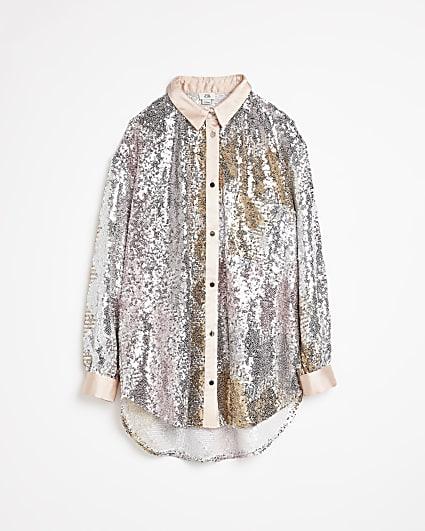 Girls pink sequin oversized shirt