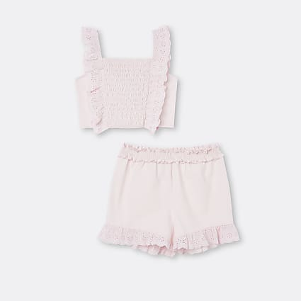 Girls pink shirred broderie shorts outfit