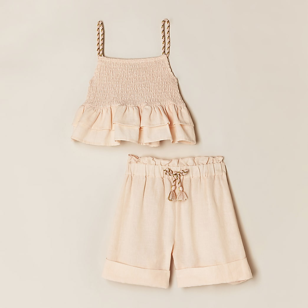 Girls pink shirred cami and short outfit