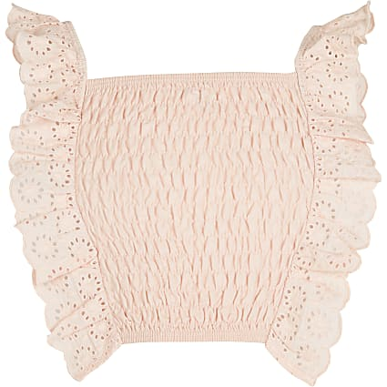 Girls pink shirred crop top