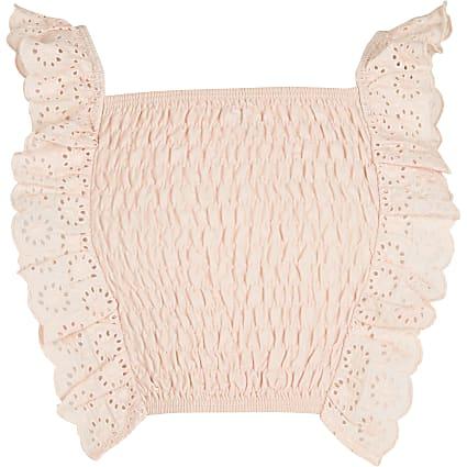 Girls pink shirred crop top