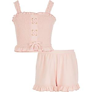 Tenue avec crop top froncéà lacets rose pour fille