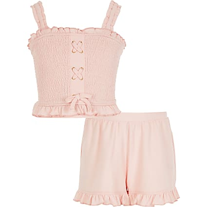 Girls pink shirred lace-up crop top outfit