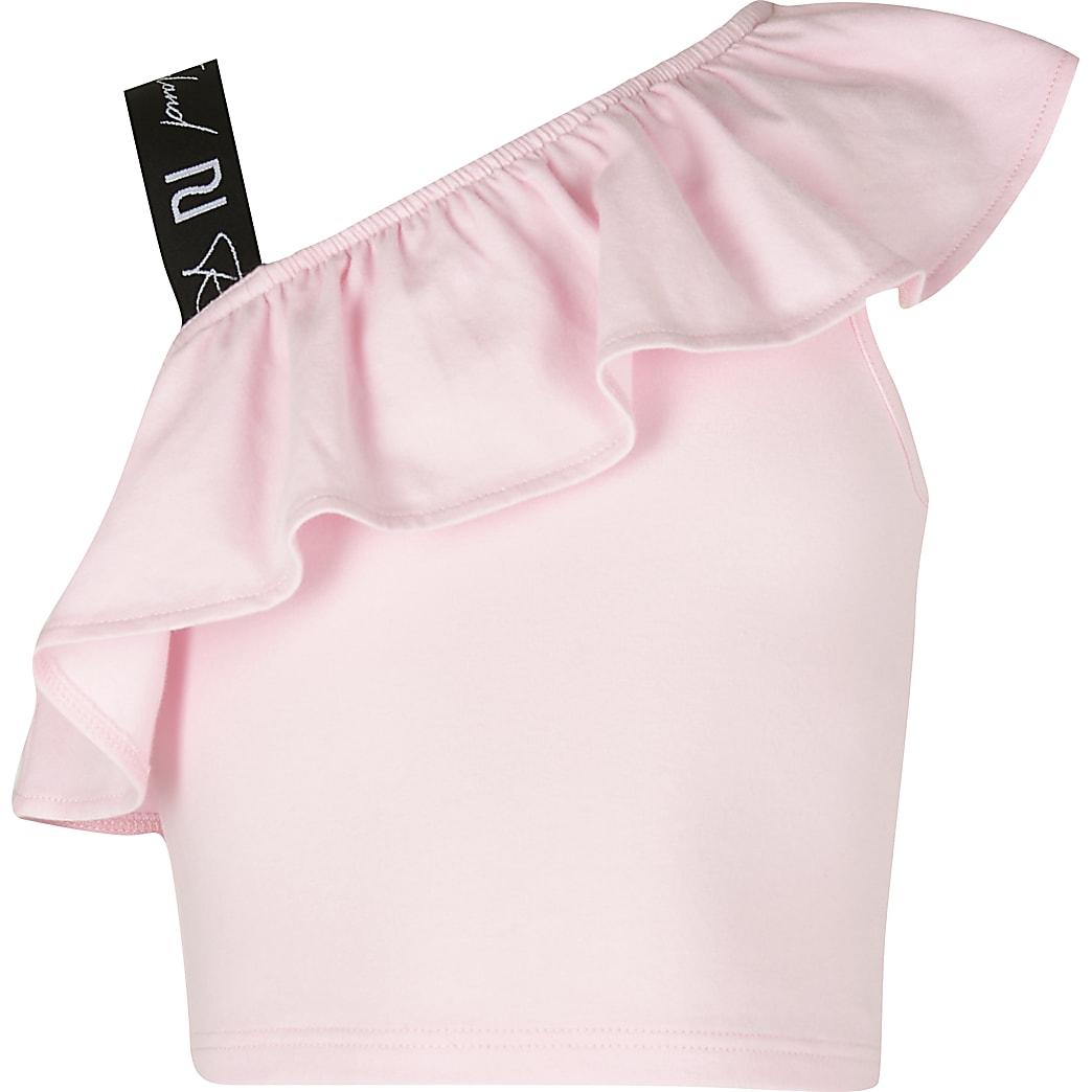 Girls pink shoulder crop top