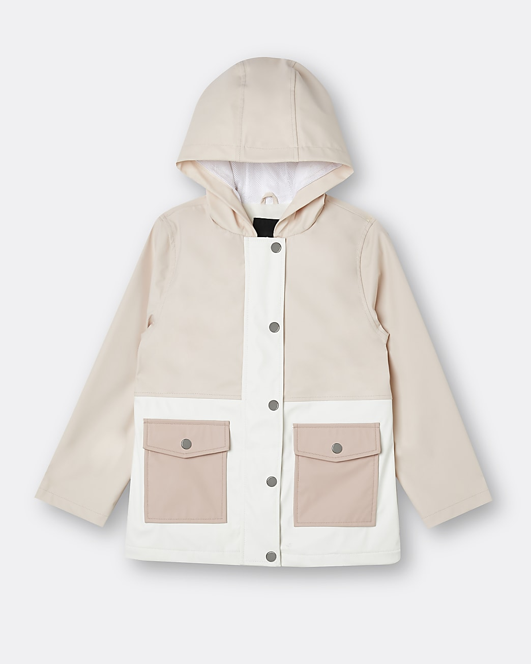 Girls pink shower resistant rain jacket