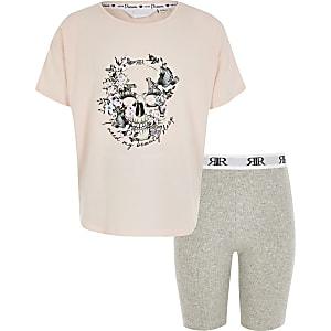 Pyjama in Rosa mit Totenkopf-Print