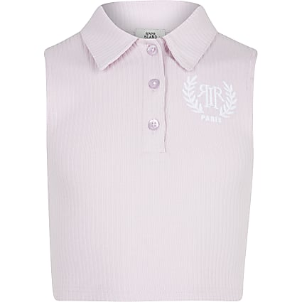 Girls pink sleeveless collar top