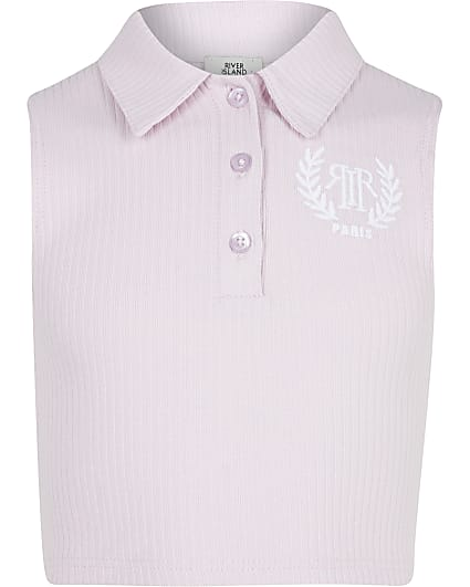 Girls pink sleeveless collar top