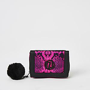 Roze portemonnee met drie vakken en slangenprint voor meisjes