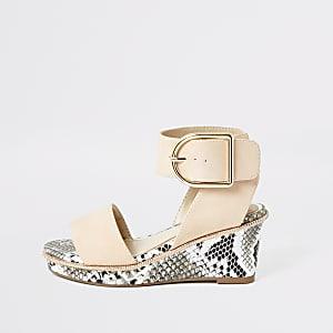 Roze sandalen met sleehak en slangenprint voor meisjes