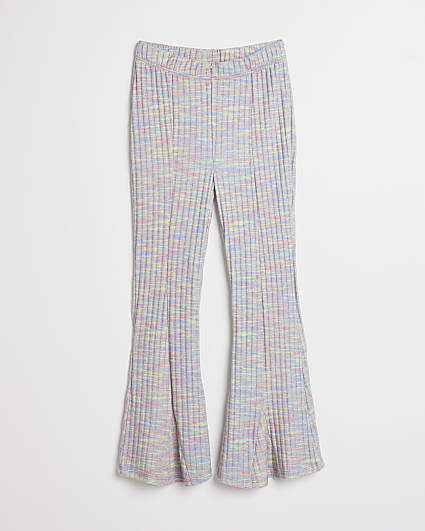Girls pink space dye flared trousers