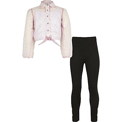 Girls pink spot organza shirt outfit