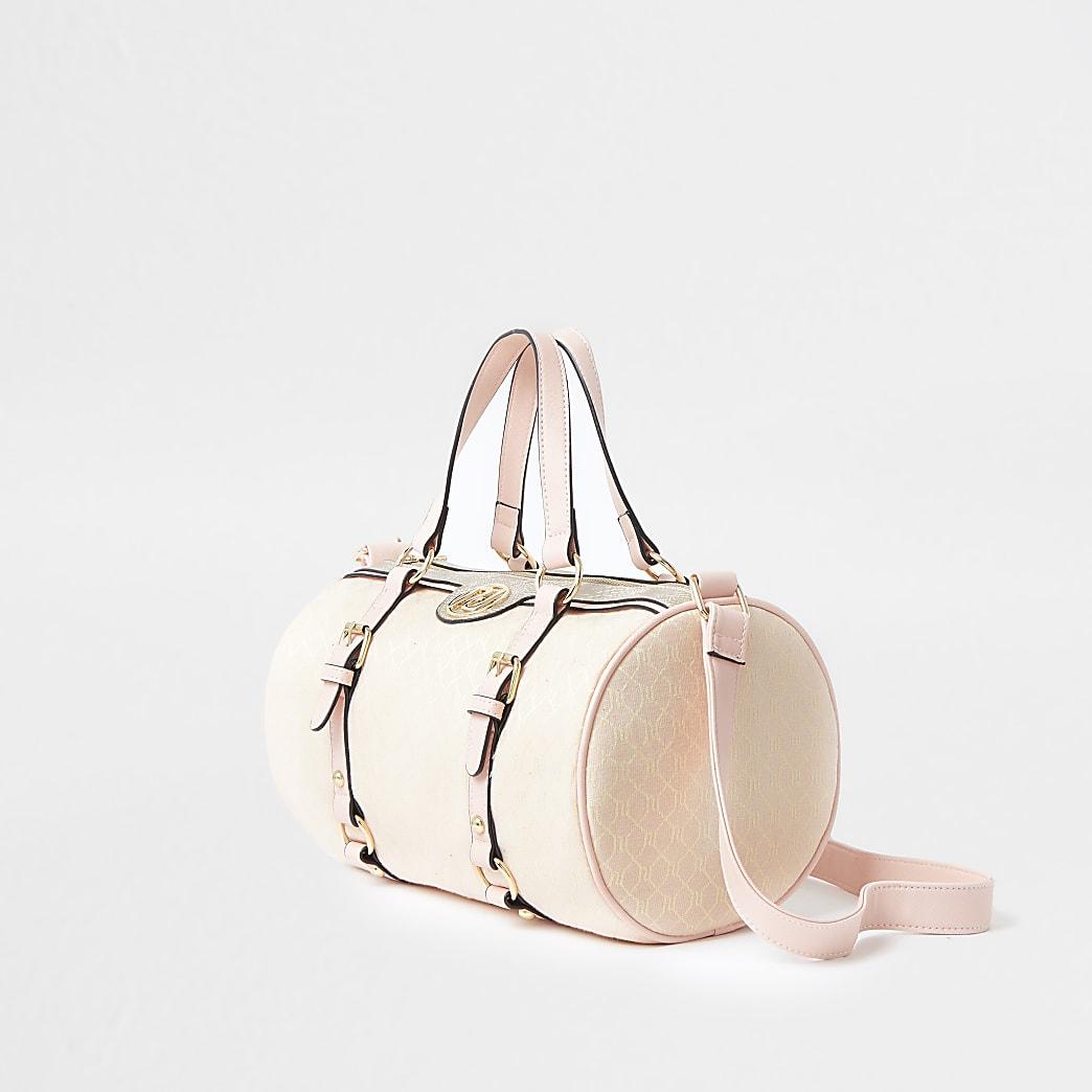 Girls pink strap pink jacquard holdall bag