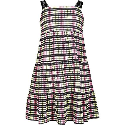 Girls pink strappy smock dress