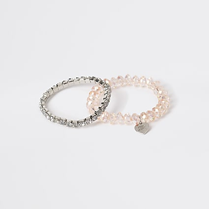 Girls pink stretch diamante bracelet 2 pack