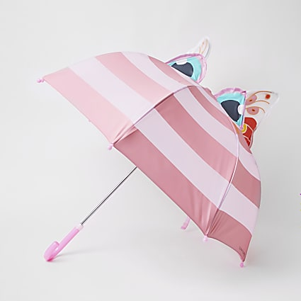 Girls pink stripe butterfly umbrella