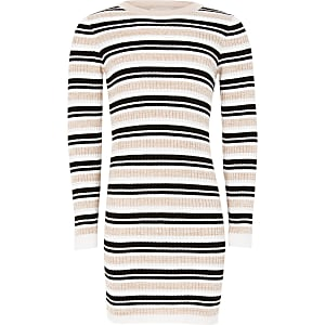 Girls pink stripe fitted knit jumper dress