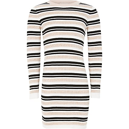 Girls pink stripe fitted knit jumper dress