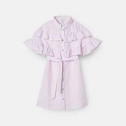 Girls pink stripe frill shirt dress