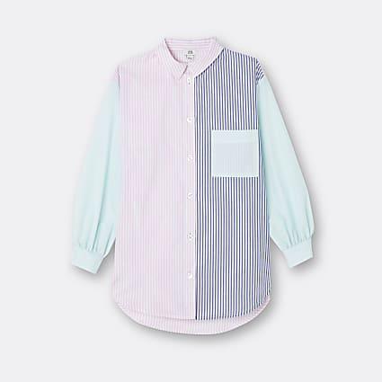 Girls pink stripe print oversized shirt